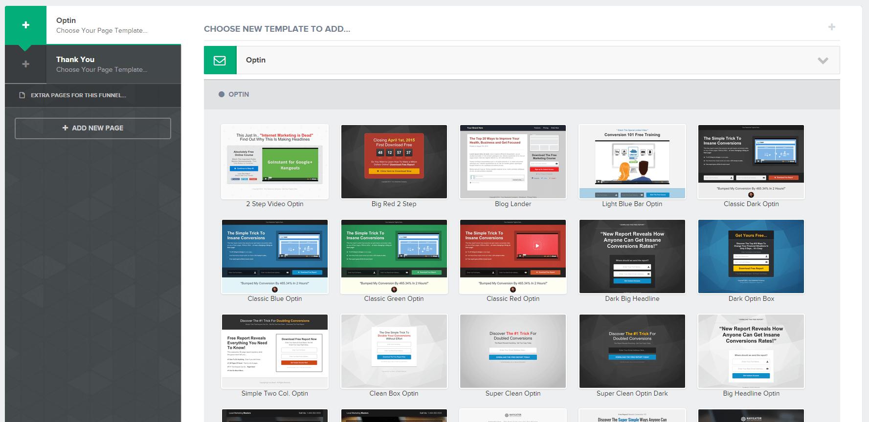 Optin email dei modelli ClickFunnels