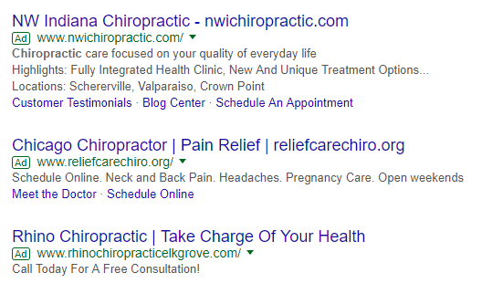 Google Adwords chiropractor marketing