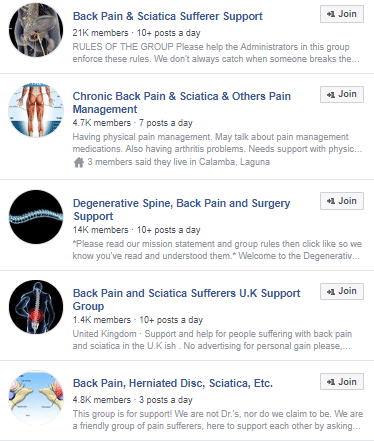 back pain-related Facebook groups