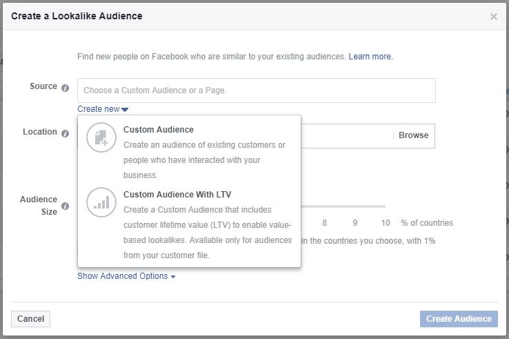 Create a Facebook lookalike audience with custom audience