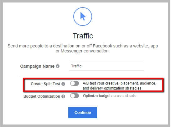 create split test on Facebook