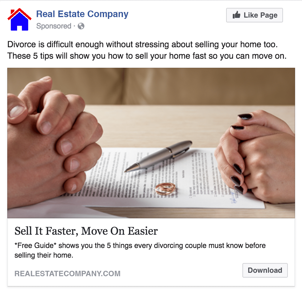 real estate facebook ad for divorcing couples